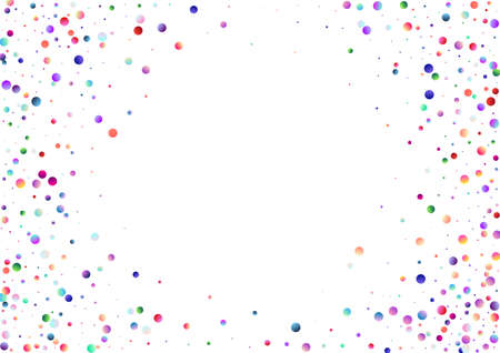 Colorful pattern with glowing circular dots (confetti). Rainbow twinkle circles on white background. Multi colored texture useful for holiday backdrop (birthday disco party). Blank horizontal template Stock Photo