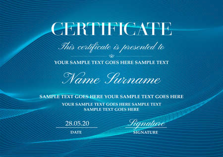 Certificate template with Guilloche pattern (lines). Blue background for Diploma, certificate of achievement, attendance, award design