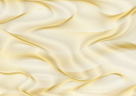 Abstract gold lines on white vector background. Golden wavy guilloche pattern useful for certificate, diploma, hi tech technology. Blank horizontal template Archivio Fotografico