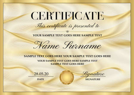 Certificate template with Guilloche pattern (lines) and golden frame. Gold background for Diploma, deed, certificate of appreciation, achievement, attendance, award plaque design