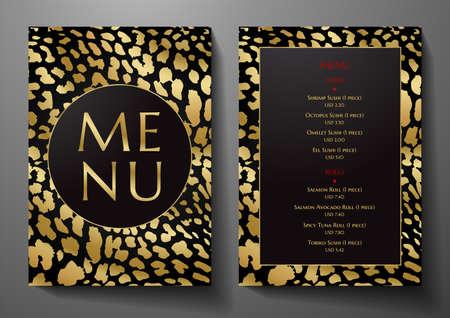Design Restaurant Menu template with animal print (leopard). Luxe black and gold frame pattern (border). Elegant cover useful for Creative Cafe Menu, brochure, coffee house, wedding invitation design Vetores
