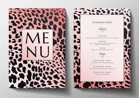 Design Restaurant Menu template with animal print (leopard). Stylish black and gold frame pattern (border). Elegant cover useful for Creative Cafe Menu, brochure, wedding invitation design