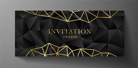 Premium invite VIP card template with black polygon background and  golden geometric poly pattern. Rich holiday design useful for invitation event, luxury gift certificate, exclusive voucher