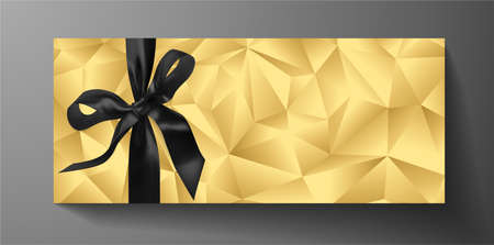 Premium invite VIP card template with gold polygon background, black bow (ribbon). Deluxe geometric poly pattern. Rich holiday design for invitation event, luxury gift certificate, exclusive voucher