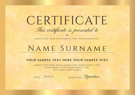 Certificate, Diploma template with gold pattern background (guilloche circle lines) and golden frame. layout useful for IT technology, certificate of appreciation, achievement