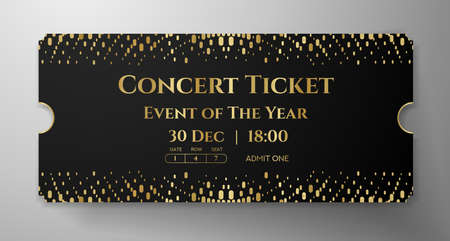 Premium black and gold ticket template design. Shimmery luxury background with abstract golden dots pattern. Useful for VIP invite, any festival, party, theater, event or entertainment show Ilustração Vetorial