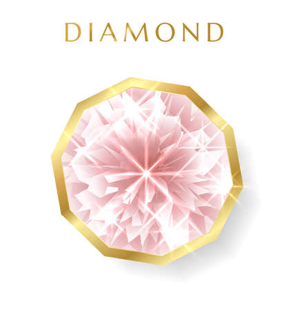 Expensive diamond (pink brilliant) isolated on white background. Vector gemstone useful for jewelry design us fashion decorative luxe element