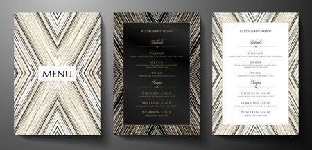 Design restaurant menu template with gold, black, silver glitch lines on black background. Luxury frame pattern (stripe border). Elegant cover useful for Creative Cafe Menu