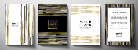 Modern black cover design set. Luxury creative line pattern in premium colors: black, gold, silver and white. Formal vector layout background for notebook cover, business poster, brochure template Ilustração Vetorial