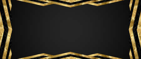 Gift card design with blank black background and geometric triangle frame (gold and black elements). Premium vector template for Gift voucher, coupon, gift certificate or exclusive invite card