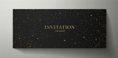 Elegant black Invitation template with gold twinkle stars pattern on background. Premium vector design for Gift certificate, Voucher, Gift card