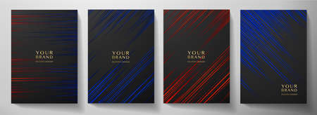 Modern black, blue, red diagonal stripe cover design set. Luxury creative dynamic line pattern. Formal premium vector background for business brochure, poster, notebook, menu template
