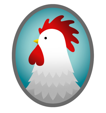 pictured: pictured rooster in cartoon style on a white background Stock Photo