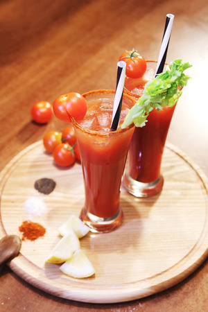 bloody: decorated bloody Mary with celery and tomato