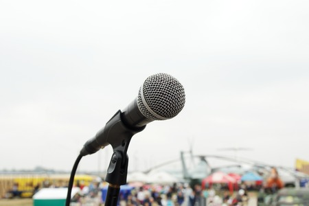 aerodrome: Close up of microphone on concert on retro festival on aerodrome