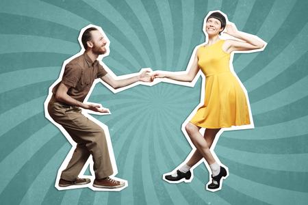 ロックン ロール ダンス ブギウギ。スタジオの背景でブギー アクロバティックなスタント。ロック n ロール音楽のためのダンス。 写真素材