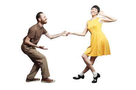 ロックン ロール ' ロール ダンス ブギウギ。スタジオの背景でブギー アクロバティックなスタント。ロック n ロール音楽のためのダンス。 写真素材