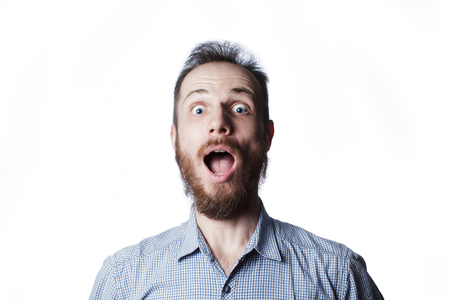 expression and people concept - man with funny face over white background Foto de archivo
