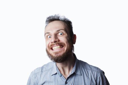 Expressie en mensen concept - man met grappige gezicht op witte achtergrond Stockfoto - 97546375