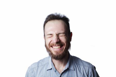 Expressie en mensen concept - man met grappige gezicht op witte achtergrond Stockfoto - 97601847
