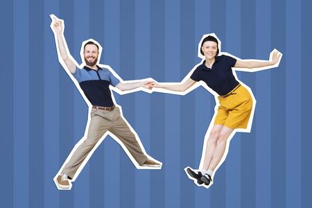 Lindy hop or rocknroll dance boogie woogie. Boogie acrobatic stunt in a studio background. Dance for rock-n-roll music. Stockfoto - 101529408