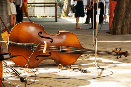 Double bass contrabass on rustic wooden floor. Beautiful string music instrument. Stockfoto