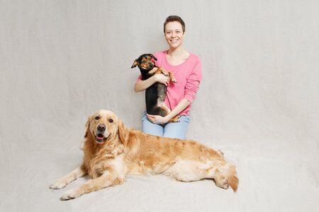 young woman in pink sweater with two dogs in studio Stockfoto