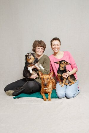 mother and daughter in pink sweater with three dogs in studio Stockfoto