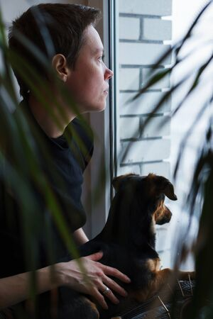 young woman and dog by the window on quarantine self isolation
