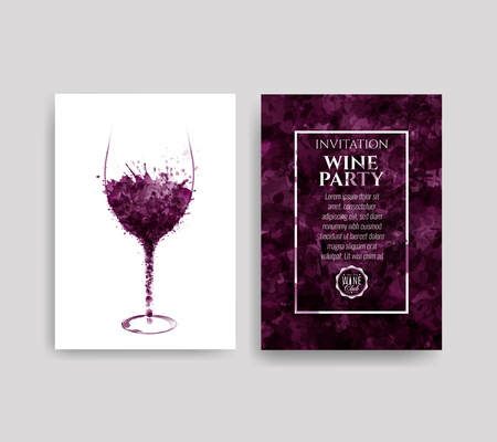 Illustration of glass with red wine stains. Background spots of wine drops. Templates for wine lists, flyer, promotions, invitations. Vector illustration Foto de archivo - 121585879