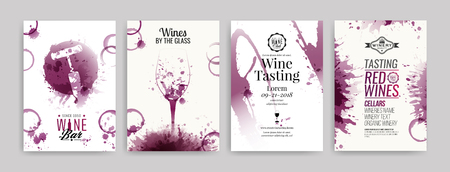 Collection of templates with wine designs. Brochures, posters, invitation cards, promotion banners, menus. Wine stains background. Vector illustration. Layered Illustration