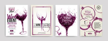 Raccolta di modelli con disegni di vino. Brochure, poster, biglietti d'invito, banner promozionali, menu. Macchie di vino, gocce. illustrazioni di bicchieri da vino. vettore
