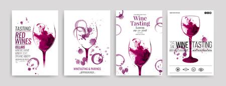Colección de plantillas con diseños de vino. Folletos, carteles, tarjetas de invitación, pancartas de promoción, menús. Manchas de vino, gotas. ilustraciones de copas de vino. vector