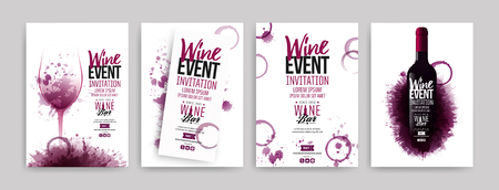 Collection of templates with wine designs. Brochures, posters, invitation cards, promotion banners, menus. Wine stains background. Vector illustration. Layered Vettoriali