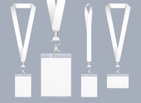 Lanyard design, realistic illustration. Identification card with ribbon. Metal closure and card with plastic. Accreditation for events, meetings, fairs, congresses and companies. Vector. Isolated. Illustration