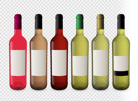 Set of wine bottles with transparent background. Bottles of white wine and ros? wine. Plugs of different colors. Model for your designs. Vector illustration