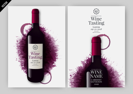 Idea for wine design, product presentation or wine tasting. Design elements separated by layers. Vector illustration