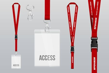 Set of lanyard and badge. Metal piece Plastic badge. Template for presentation of their design. realistic vector illustration. Illustration