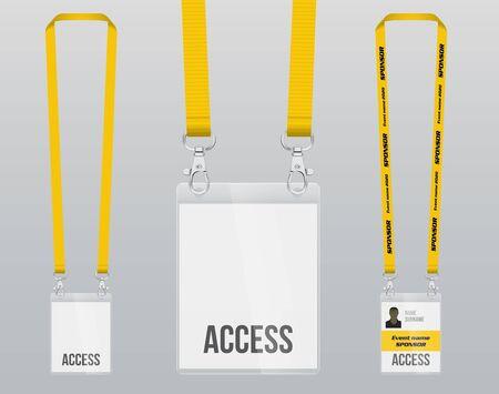 Ensemble de lanière et badge. Pièce de métal à double fermeture. Insigne en plastique. Modèle pour la présentation de leur conception. illustration vectorielle réaliste.