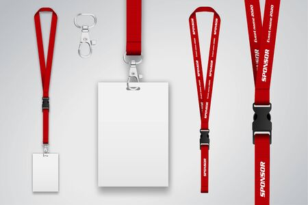 Set of lanyard and badge. Metal piece Template for presentation of their design. realistic vector illustration. Illustration