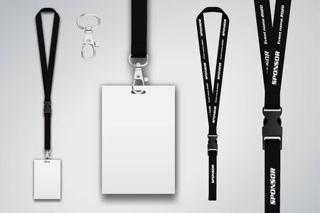 Set of lanyard and badge. Metal piece Template for presentation of their design. realistic vector illustration.