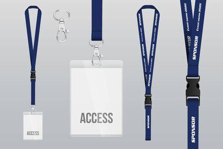 Ensemble de lanière et badge. Pièce en métal Badge en plastique. Modèle pour la présentation de leur conception. illustration vectorielle réaliste. Vecteurs