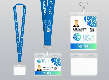 Vector illustration of lanyard. Blue ribbon Example of label with design. Labels of different sizes. Lanyard with plastic label. Place for branding design