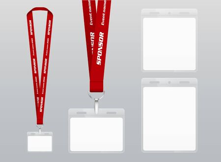 Vector illustration of lanyard. Red  ribbon. Labels of different sizes. Lanyard with plastic label. Place for branding design Illustration