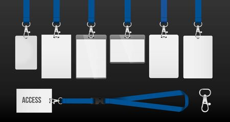 set of lanyards with labels of different formats. lanyards for access control, security or identification. Illustration of lanyards with metal closure. example in blue color. Vector eps