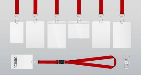 set of lanyards with labels of different formats. lanyards for access control, security or identification. Illustration of lanyards with metal closure. example in red color. Vector eps