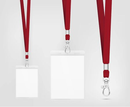 Lanyard design with cord. Cord texture effect. Simple lanyard for events. Label template for your design. Vector illustration