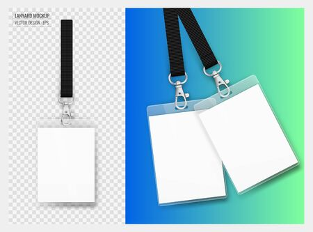 Lanyard design with transparent background. Example of colorful design for online portfolio or customer presentation. Lanyard for brand identity. Vector isolated Illustration