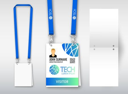Design of double hole lanyard. Example with double program card. Access ID for congresses, events, fairs, exhibitions. Vector illustration of lanyard. Çizim