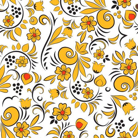 khokhloma: Khokhloma painting. Seamless vector pattern. Floral background Illustration